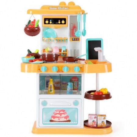 Большая детская игрушечная кухня с водой и звуком 889-151 желтая, 43 предмета, высота 72 см