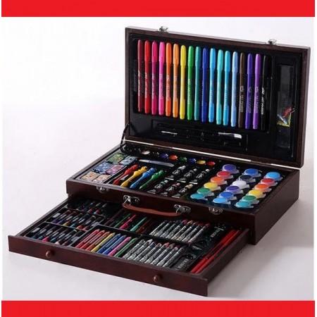 Набор для рисования 123 предмета - Деревянный чемодан