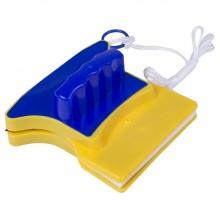 Магнитная щетка для мытья окон Glass Wiper 12 мм Желто-синяя