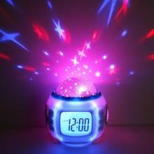 Светильник с часами и будильником, проектором звездного неба 1038