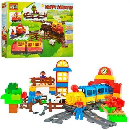 Детский конструктор железная дорога с паровозиком со звуковыми эффектами JIXIN M 0437 U/R (6188А), 110 деталей