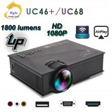 Проектор Мультимедийный Wi-Fi  UNIC UC68 BK, домашний кинотеатр 1800 люмен, светодиодный проектор с HD 1080p