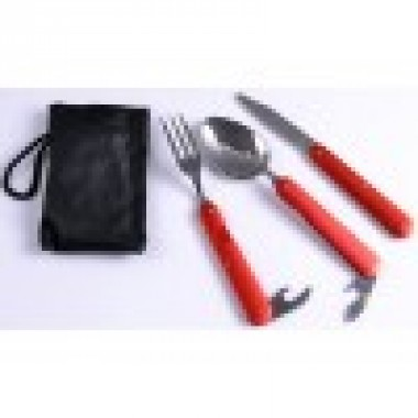 Туристический набор 3в1 Ложка, Вилка, Нож N-8003 Красный